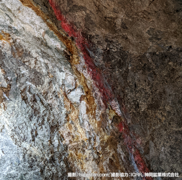 坑道の壁面の様子
